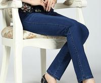 Spring and autumn middle aged jeans female large size trousers high waist slim small straight pants FFWS01 02