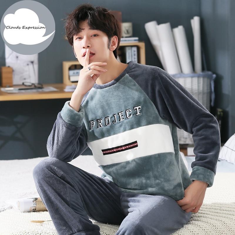 Winter Warm Flannel Pajamas Sets Print Sleepwear Long Pant Male Men Pajama Set Plus Size 3XL 4XL 5XL 95kg Nightwear Loungewear