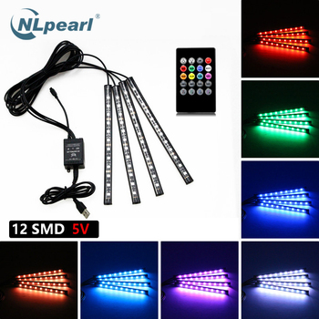 NLpearl 4pcs Music Control Car Decorative Lamp USB Led Strip 12V 5V RGB 5050 SMD Waterproof Interior Atmosphere lamp With Remote