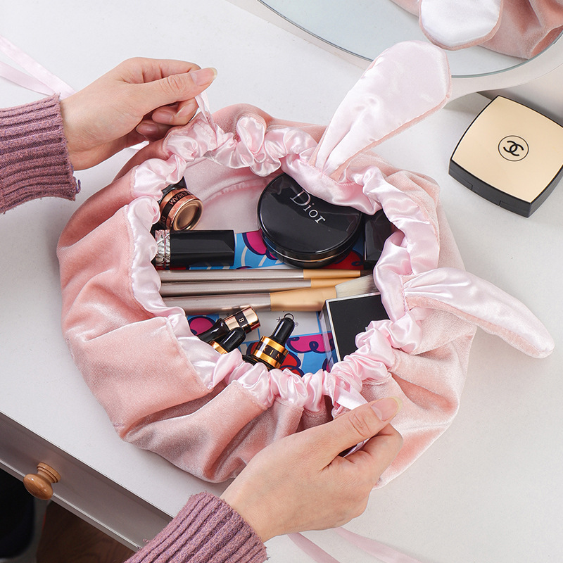 Drawstring Cosmetic Bag Round Travel Fashion Wash Makeup Bag Organizer Cute Rabbit Ear Velvet Case Storage Pouch Toiletry Bag