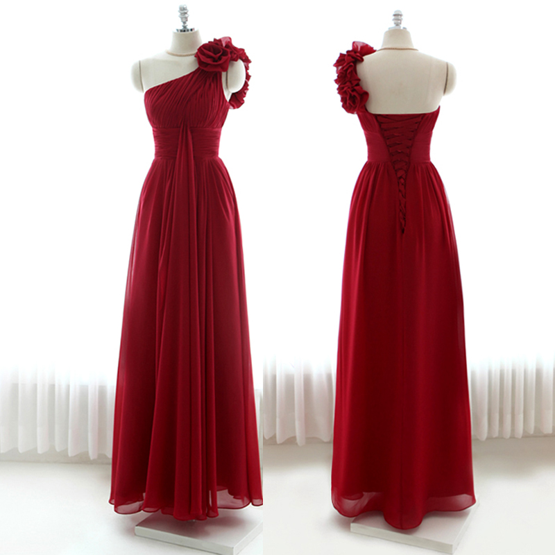 Vestido De Noiva Longo One Shoulder Flower New Hot Sexy Long Red Chiffon Formal Prom Gown 2018 Robe De Soiree Bridesmaid Dresses