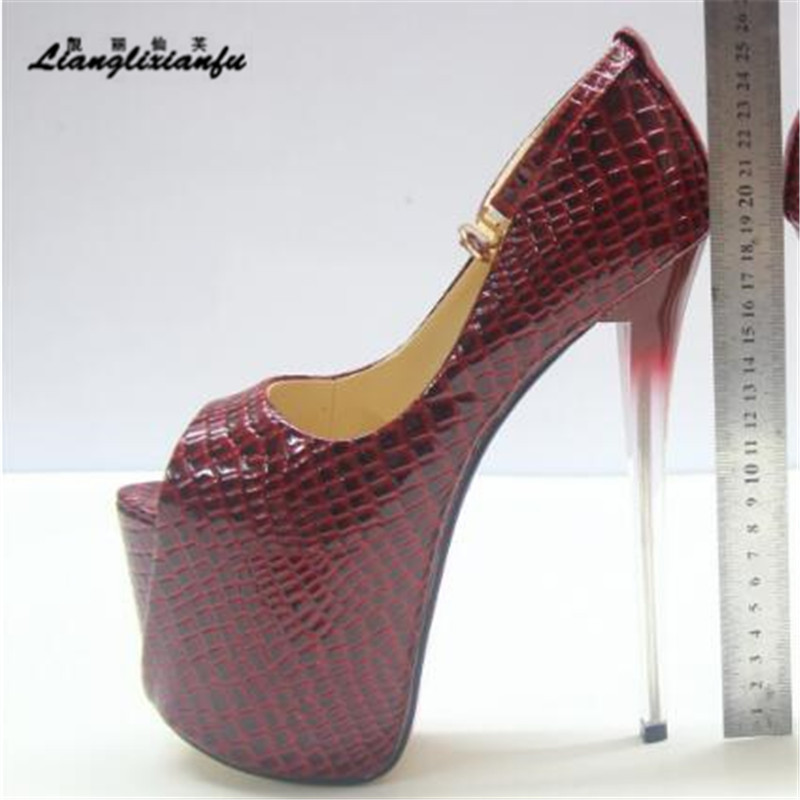 LLXF Brand Diamond Sandals Women's Shoes 19cm Ultra High Thin Heels Single Open Toe Platform Ankle Strap Wedding Pumps Eur:34-50