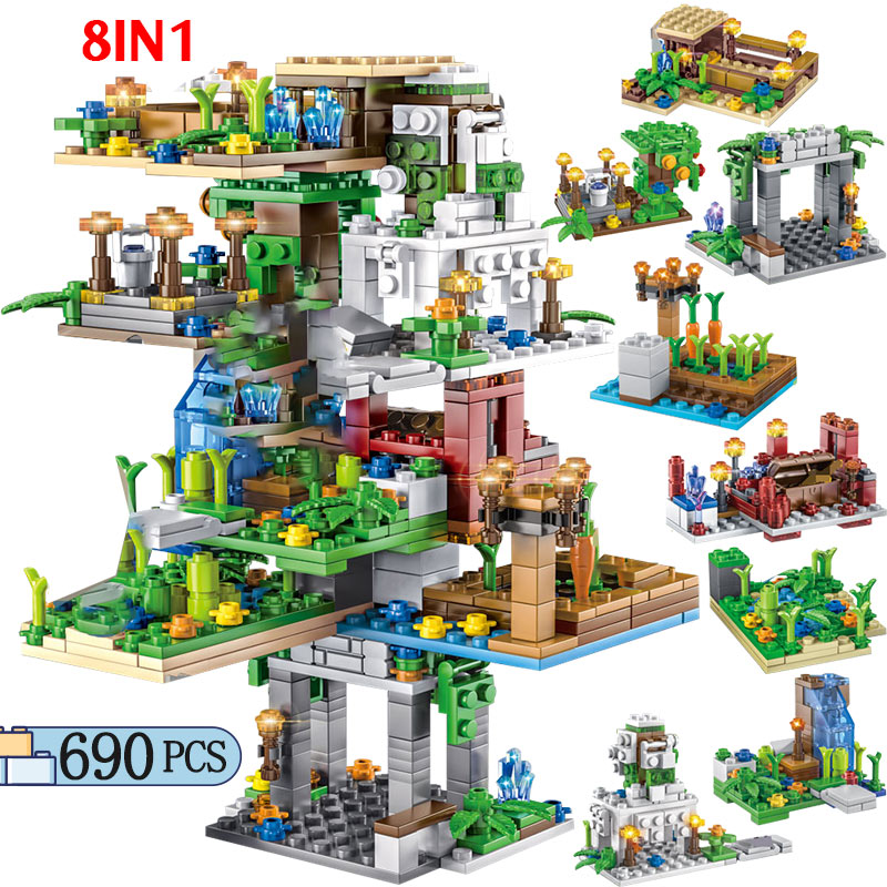 690PCS Creator Hanging Garden Tree House Building Blocks Legoing My World Figure Bricks Toys For Kids Brithday Gifts