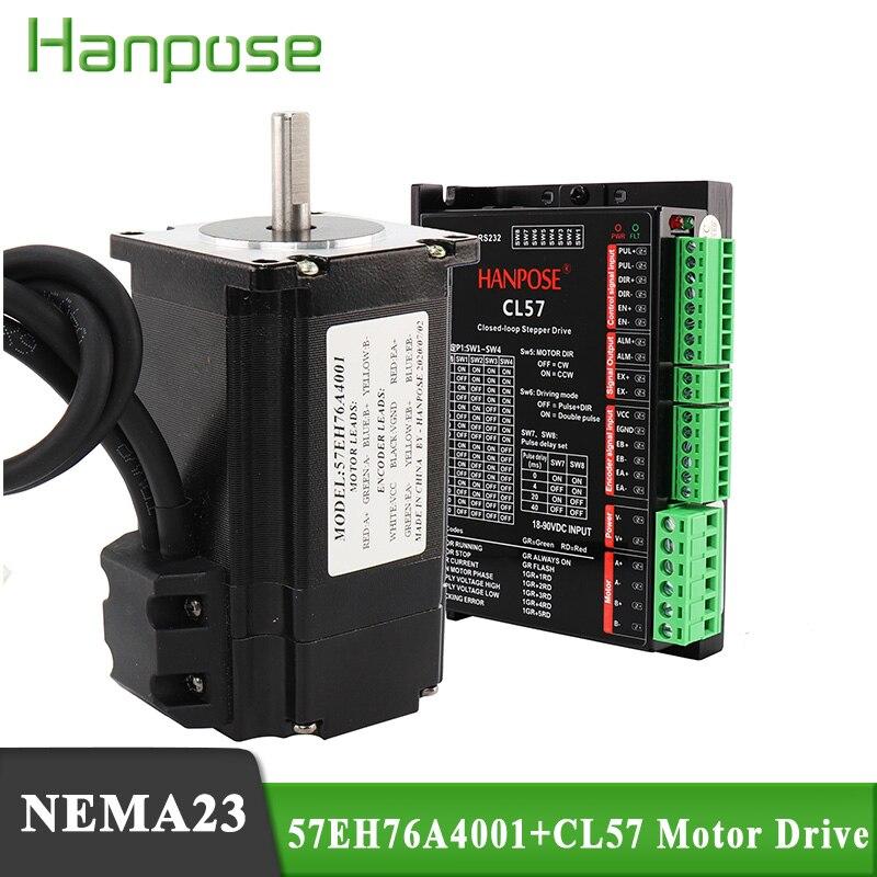 Passo híbrido-servo motor nema23 motor de passo 4.0a 2.2n. m 57eh76 + cl57 circuito fechado servo driver cnc controlador kit