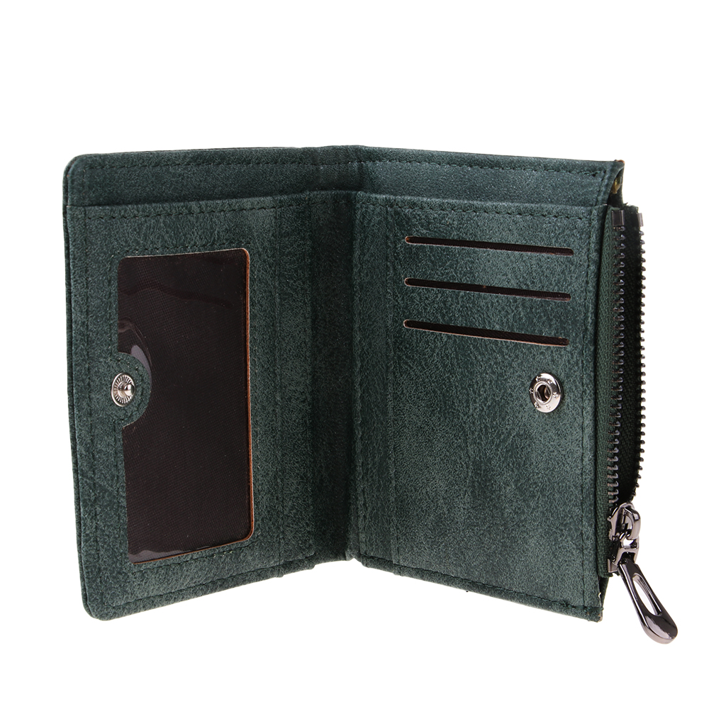 Women Girls PU Leather Purse Lovely Swan Clutch Coin Bag Bifold Wallet Green