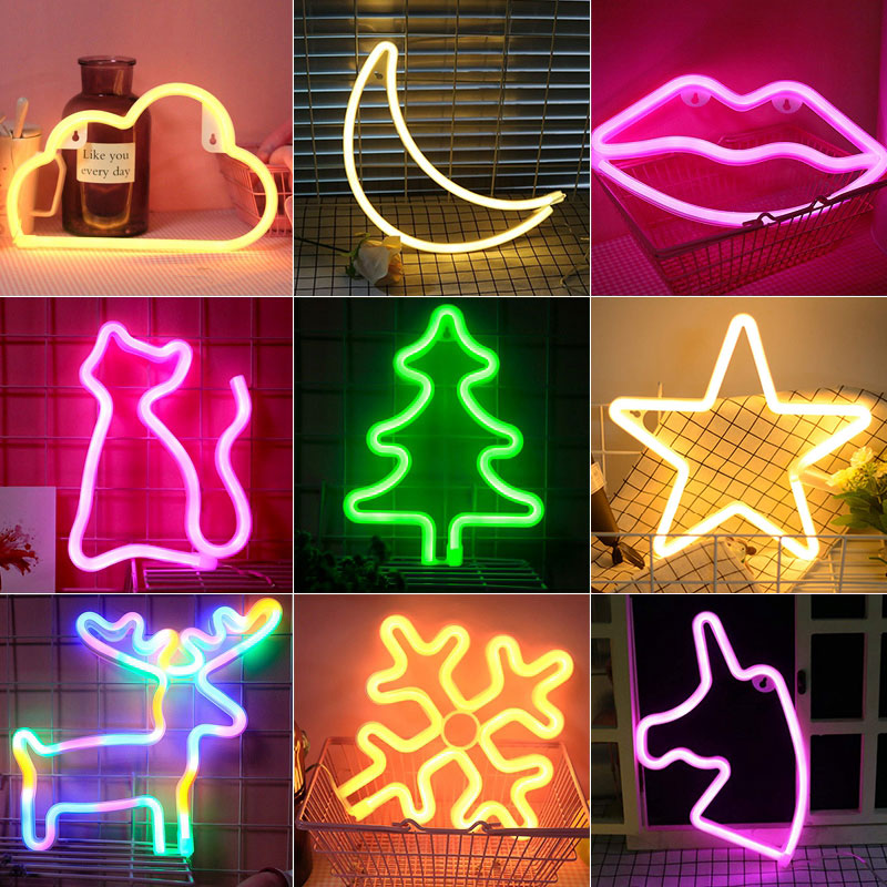 Colorful LED Neon Light Sign Wall Decor Lamp For Xmas Birthday Wedding Party Kids Room Living Room Wall Hanging Decor Lighting
