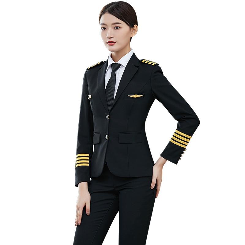 Airline Uniform Suit Female Pilot Captain Uniform Woman Coat + Pants Air Attendance Hotel Sales Manager Professional Clothing