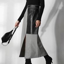 XUXI 2020 Women Spring Autumn Half Body Skirt Korea Can Send Black White Wine, Black, Black, Black, Black, Black, Black FZ1135