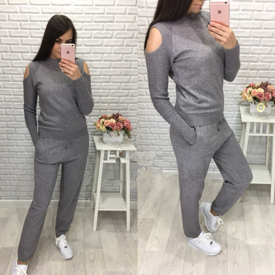 2019 Knitted Off-Shoulder Sexy Sweaters and Pants Sets 2PCS Track Suits Autumn and Winter Knit Trousers+Jumper Tops Clothing Set