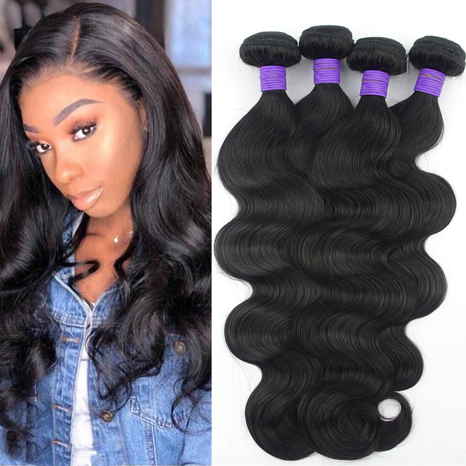 Brazilian Body Wave Human Hair Bundles Remy Hair Weave Weft Extensions Black 1B Color
