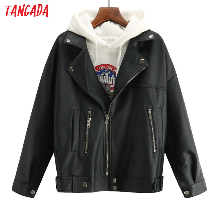 Tangada Female Leather Jacket For Women Coat Autumn Winter 2019 Pu Bomber Jacket Loose High Street Outerwear Pocket Coats ACD01