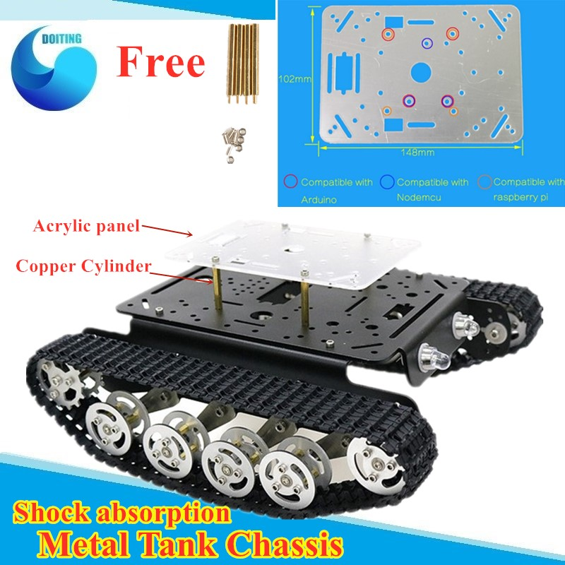 Free Acrylic Panel <font><b>TS100</b></font> Shock Absorption Metal Robot <font><b>Tank</b></font> Car Chassis RC Crawler Caterpillar Tacked Vehicle kit for arduino image