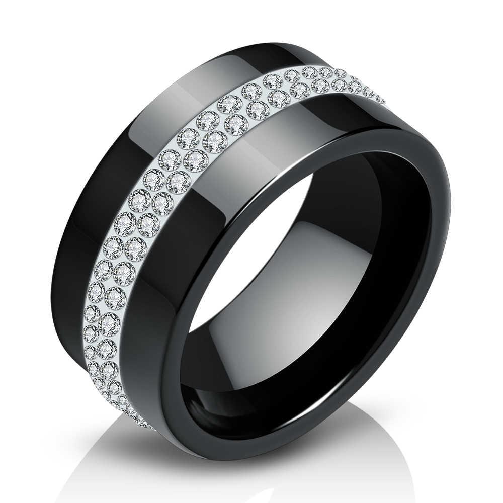 ใหม่ 10 มม.สีดำและสีขาว 2 แถวเซรามิคแหวนสัญญาหมั้นแหวนแต่งงานสำหรับผู้หญิง
