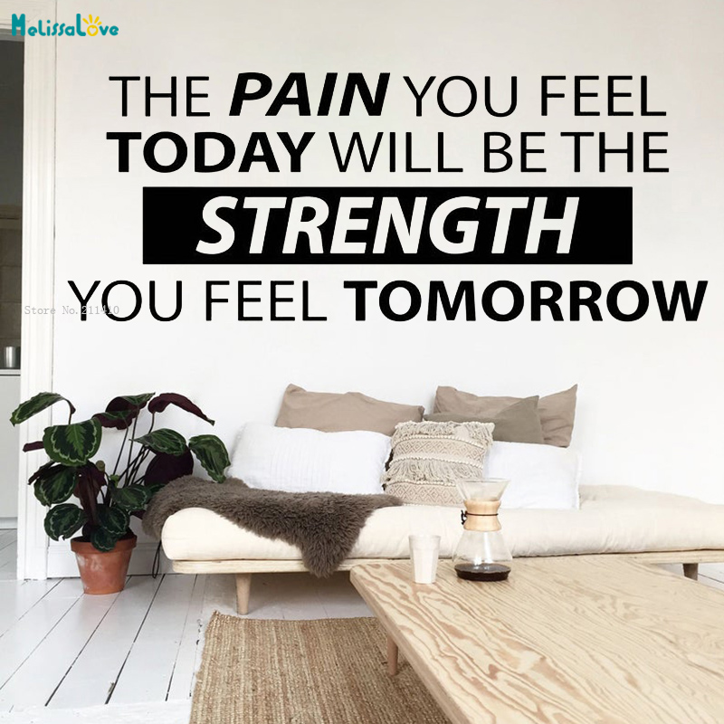 The Pain You Feel Today Will Be The Strength Wall Sticker Office Quote Workout Poster Fitness Vinyl Word Decor YT3219 image
