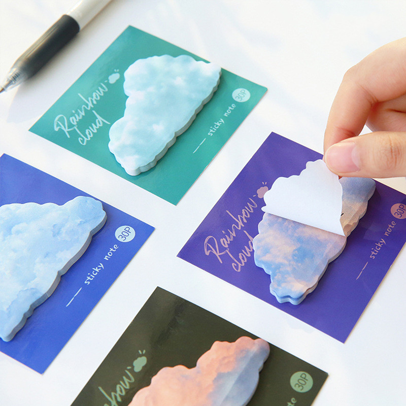 30 страниц Творческий Цвет самоклеющиеся Блокнот радуги облака Стиль липкая закладка для заметок школьные канцелярские принадлежности