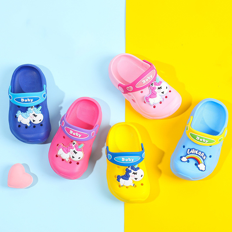 Suihyung Children Garden Shoes Cartoon Unicorn Boys Girls Summer Slippers Lightweight Two-wear Kids Sandals Baby Toddler Sandals