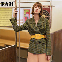 [EAM] Losse Fit Green Plaid Split Joint Temperament Wollen Jas Parka Nieuwe Lange Mouw Vrouwen Mode Herfst Winter 2019 1H089(China)