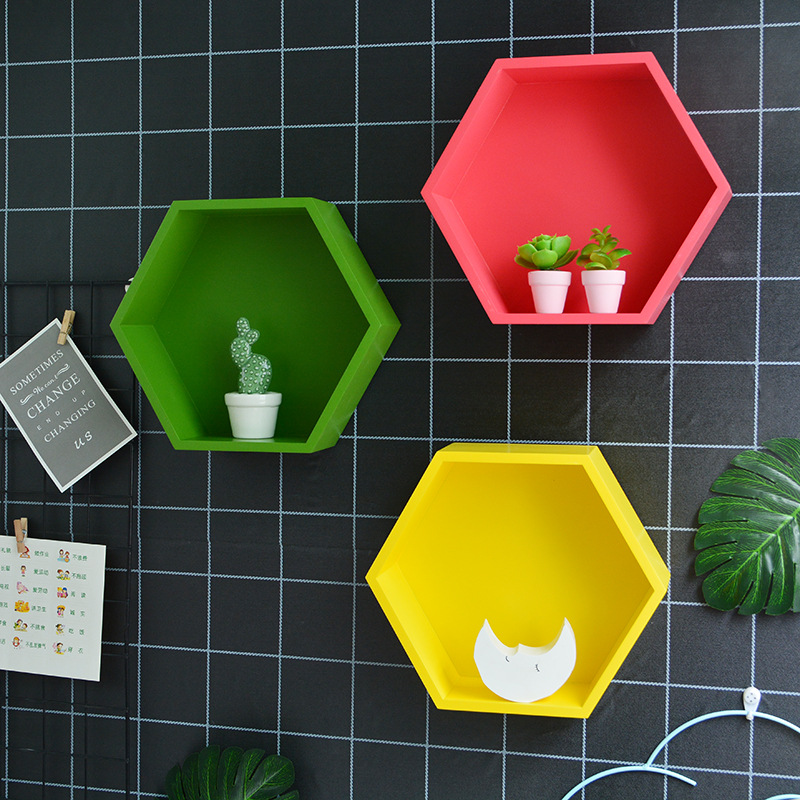 Nordic Style Wooden Decor Wall Hexagonal Storage Rack Wall Mount Shelf Holder Decoration Book Flower Display Crafts Shelves
