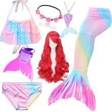 Dzieci dziewczyny syrenka ogony do pływania Fin strój kąpielowy ogon syrenka peruka dla dziewczyn kostium może dodać Flipper Monofin