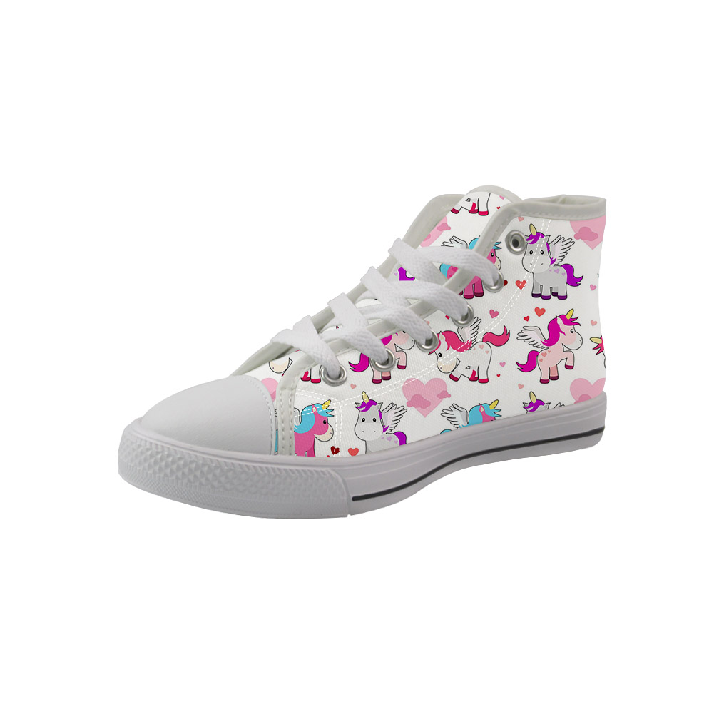 NOISYDESIGNS Fashion Kids White High-top Canvas Shoes Cute Colorful Horse Baby Girls Boys Sneakers Running Casual Tenis Infantil