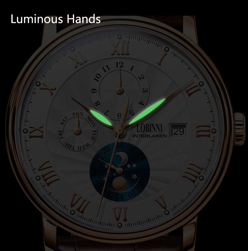 Nova lobinni suíça relógios masculinos marca de