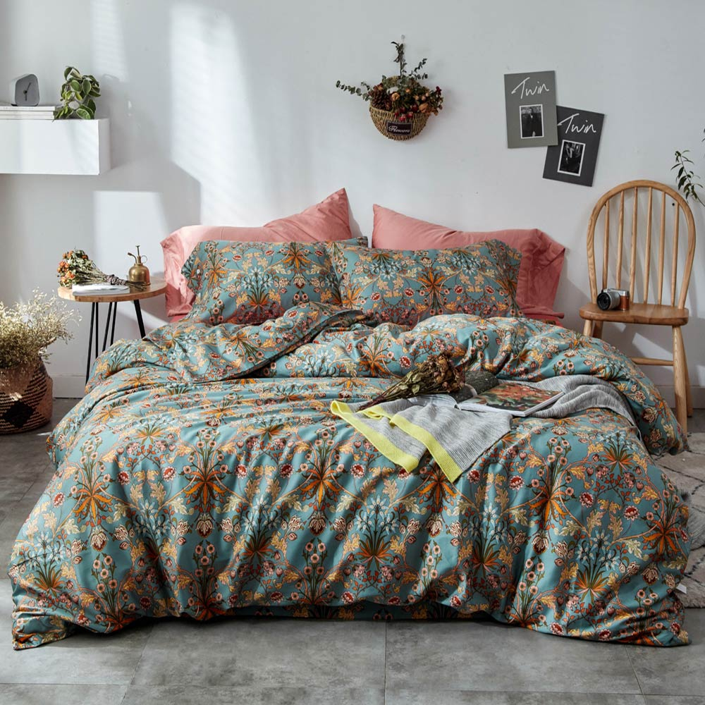 Yellow Bohemian Flowers Leaves High Count Egyptian Cotton Bedding Set Queen King Size Bedlinens Flat Sheet Duvet Cover Set
