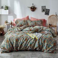 Yellow Bohemian Flowers Leaves High Count Egyptian Cotton Bedding Set Queen King Size Bedlinens Flat sheet Duvet Cover Set