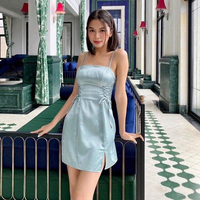 yuqung Women split Dresses Satin silk Backless Sleeveless lace up Party Night Club Mini Dresses Spaghetti Straps Elegant Dress 3