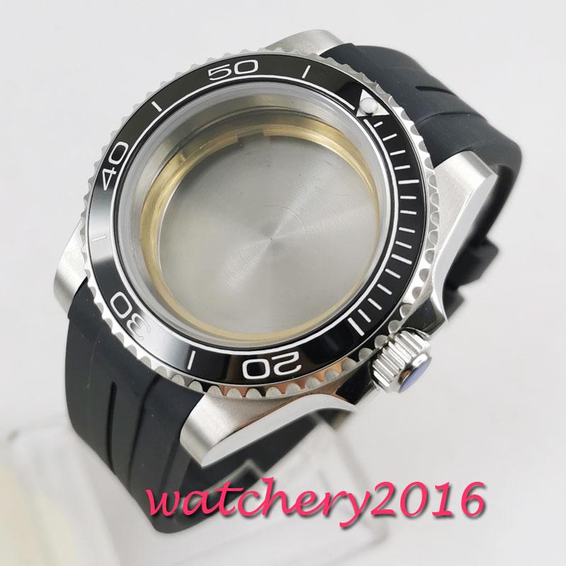 Caixa do Relógio Vidro de Safira Painel de Cerâmica Preta Grupo 2836 Movimento 40mm Fit 2824