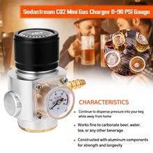 Sodastream CO2 Mini Gas Regulator CO2 Charger Kit Bar Tool 0-90 PSI Gauge for European Soda stream Beer Kegerator CO2 Charg-er
