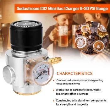 Sodastream CO2 Mini Gas Regulator CO2 Charger Kit Bar Tool 0-90 PSI Gauge for European Soda stream Beer Kegerator