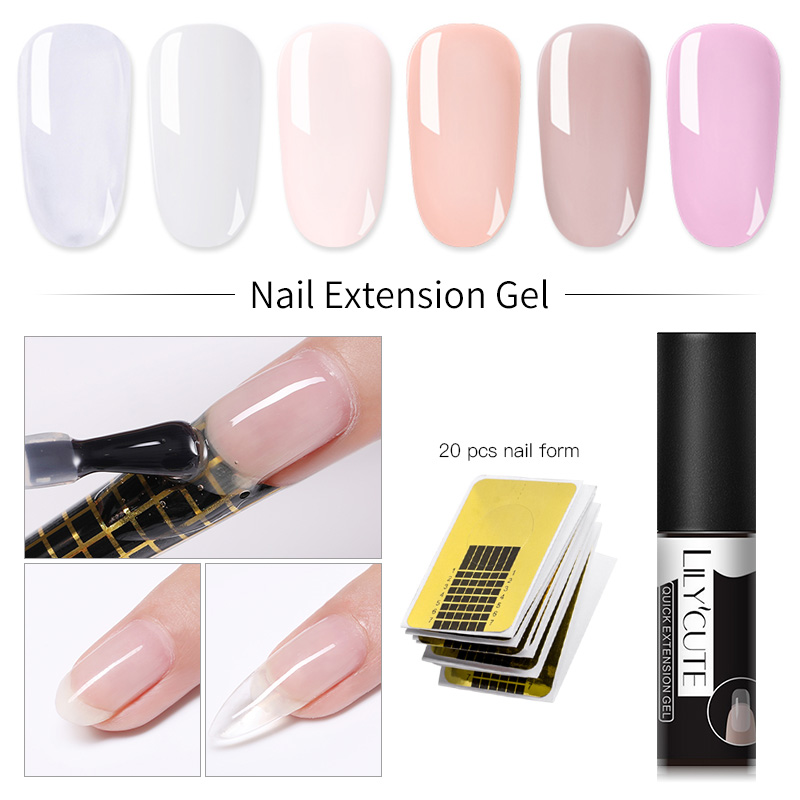 LILYCUTE 5ml Quick Extension Nail Gel Jelly Acrylic Poly UV Gel Polish Clear White Soak Off UV Builder UV Gel Nail Extension
