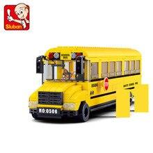 382Pcs City Big School Bus Car Building Blocks Sets DIY Bricks Playmobil Educational Toys For Children цены