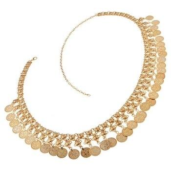 Fashion Golden Alloy Coin Tassel Pendant Belly Chain Body Waist Engraving Beach Belt