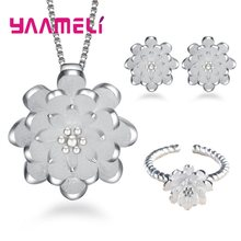 Korean Lotus Flower Necklace Earring Ring Jewelry Set for Woman Bride 925 Sterling Silver Bridal Wedding Party Costume Jewellery(China)