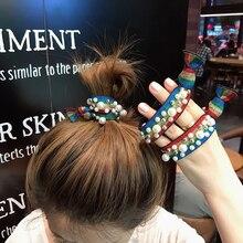 Fashion Women Leopard Square Disc Full Diamond Hair Rope Hair Ring Sparkly Headwear Hair Accessories Barrettes coffee square hair ring