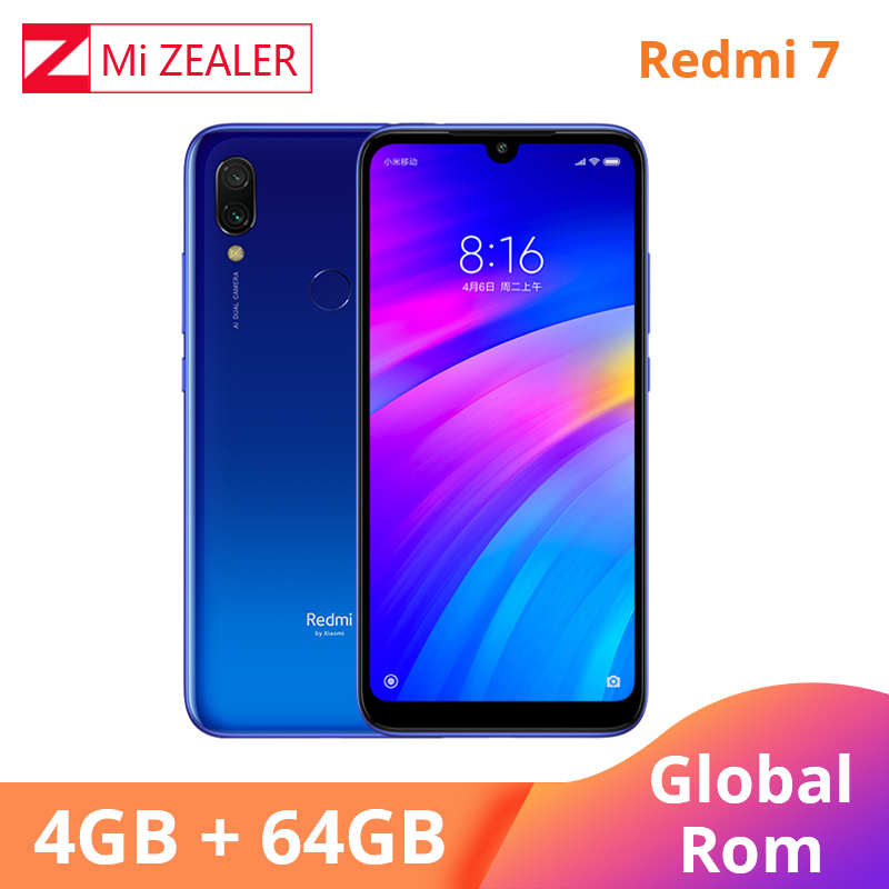 Global ROM Xiaomi Redmi 7 4GB RAM 64GB ROM Mobile Smartphone Snapdragon 632 Octa Core 12MP Camera 4000mAh Battery cellphone