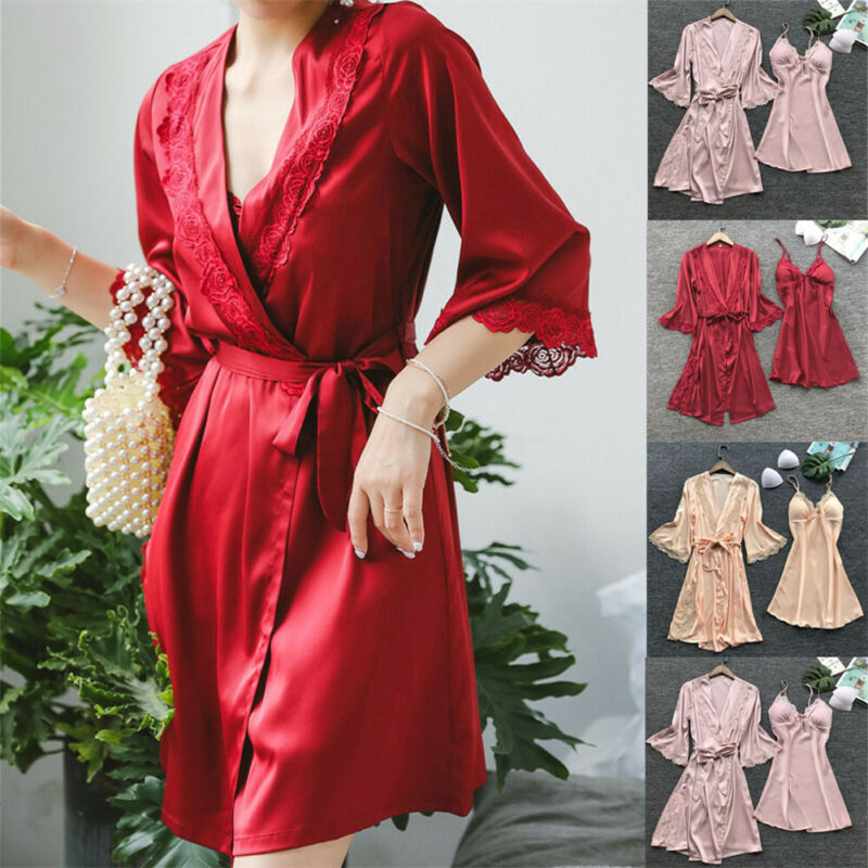 Brand New 3PCS Sexy Women's Silk Satin Nightie Gown Lingerie Sleepwear Pyjamas Set Robe Dress+G-String Valentine's Day Set