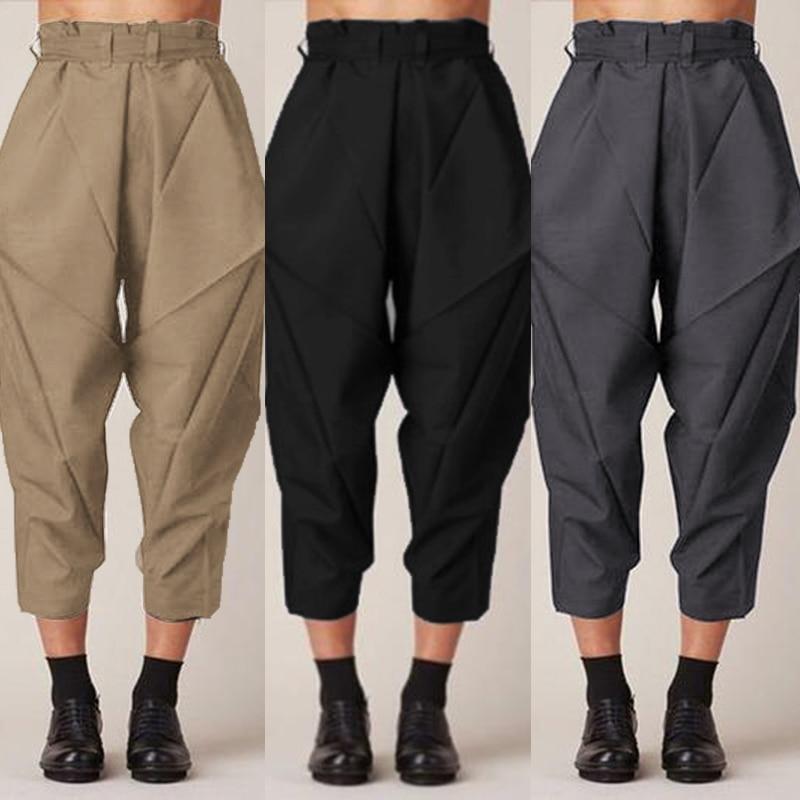 Plus Size Turnip Women's Summer Harem Pants ZANZEA Fashion Casual Ruffle Waist Pantalon Female Turnip Belt Pleated Trousers 7