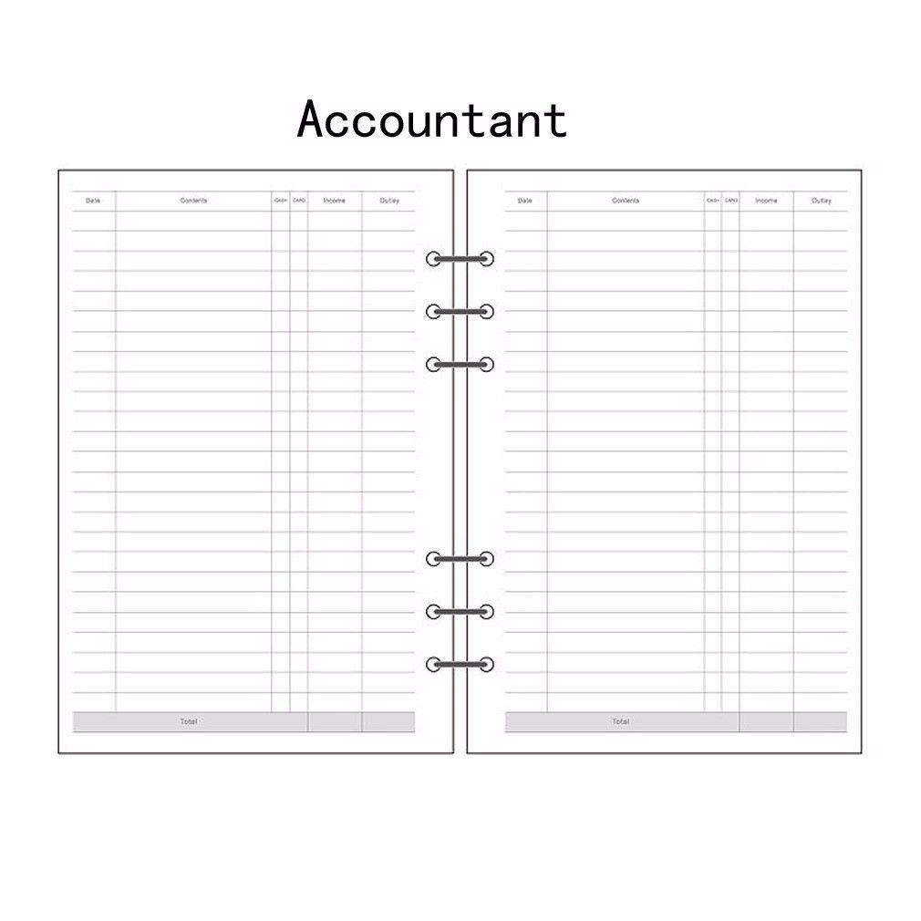 A5/A6/A7 Accountant Planner Diary Insert Loose Leaf Refill Schedule Organiser 45 Sheets Note Core Inner School Office Supply