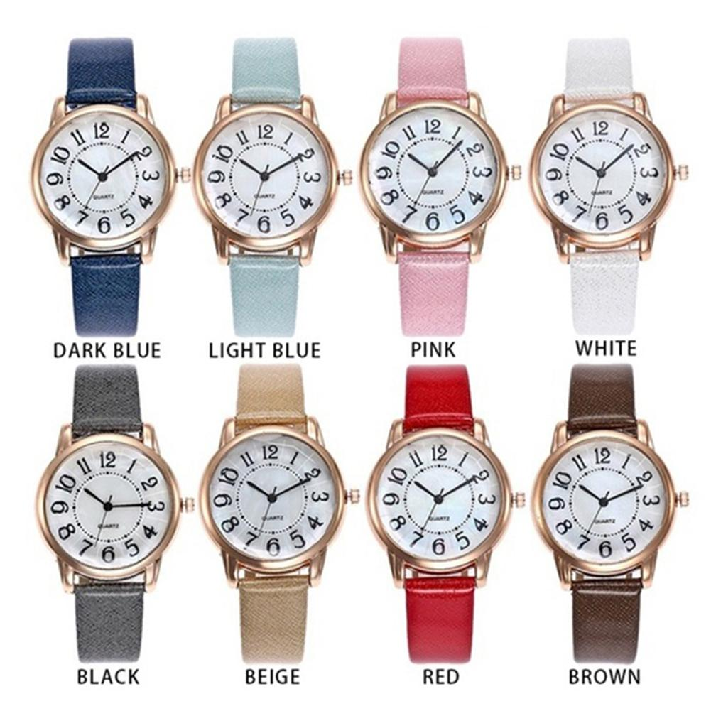 Arabic Number Analog Round Dial Faux Leather Band Couple Quartz Wrist Watch Men and women simple watch quartz couple gifts