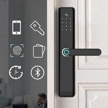 Fechadura inteligente biométrica, fechadura eletrônica para porta inteligente, à prova d água, com impressão digital