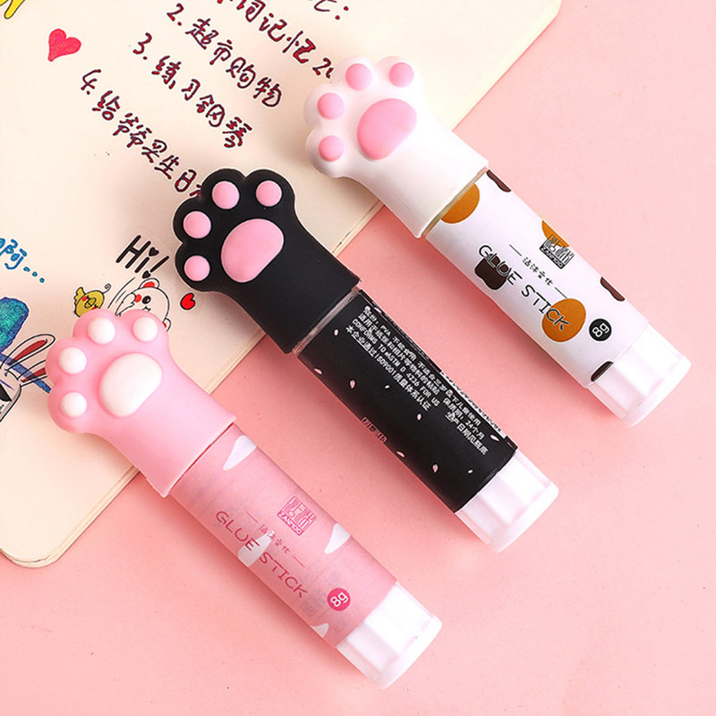 Cute Plastic Solid Glue Stick Cartoon Cat Claw Glue For Paper Files Art DIY Office School Supplies Stationery Gift