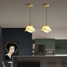 Nordic modern simple all-copper dining room chandelier creative loft lamps art diamond personality lights