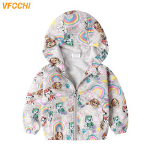 VFOCHI Brand Girl Jacket Kids Clothes Spring Windbreaker Rainbow Print Children Clothing Autumn Baby Girls Hooded