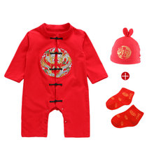 цена на Happy New Year Baby Rompers Warm Clothes Red Festoval Infant Clothing Kids Elements Print Jumpsuits Baby Overalls Romper Sets
