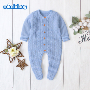 Image 3 - Baby Rompers Clothes Solid Knitted Newborn Toddler Kids Girls Jumpsuits Long Sleeves Infant Boys Overalls Children Outfits 0 24M