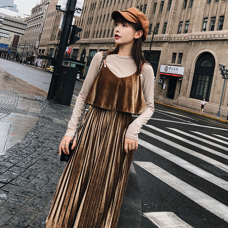 Customizable [dowisi] WOMEN'S Suit 2018 Autumn Clothing Korean-style Base Shirt Pleated Strapped Dress Women's F5351