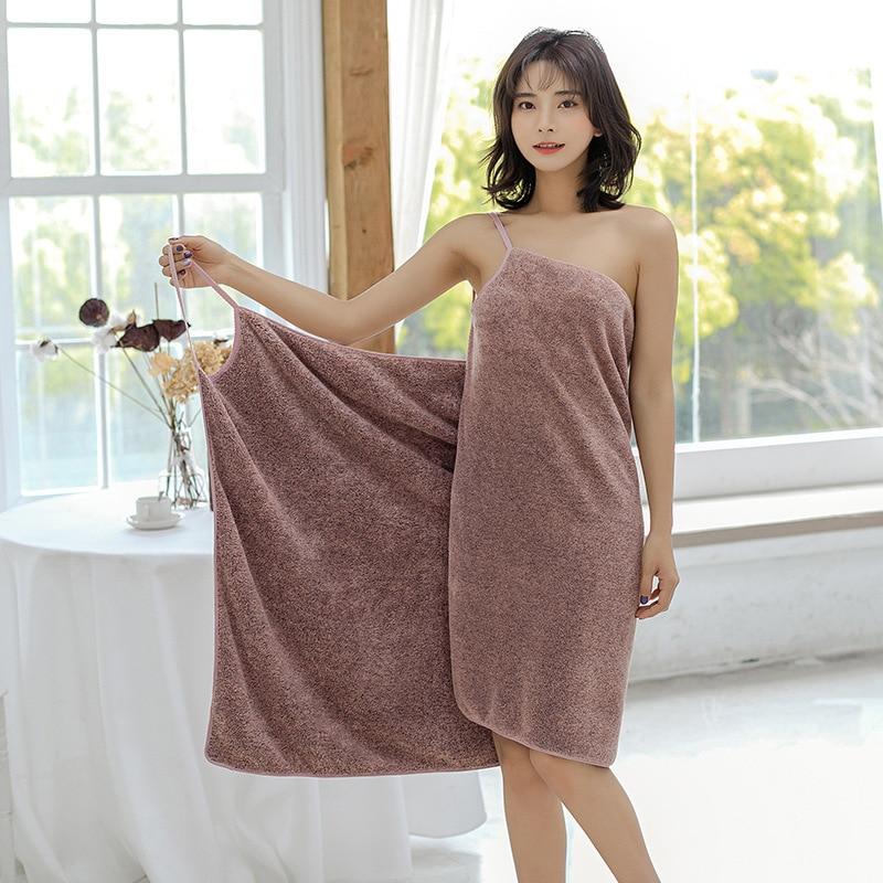 Peignoir de bain en microfibre pour femmes, serviettes de bain, Textile de maison, serviette de douche absorbante, ensemble de serviettes à porter