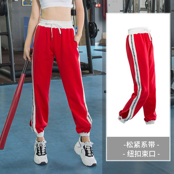 Plus Size Yoga Clothes Female Loose High Waist Fat Mm Gym Spring and Autumn Running Pants 100kg Dance Pants